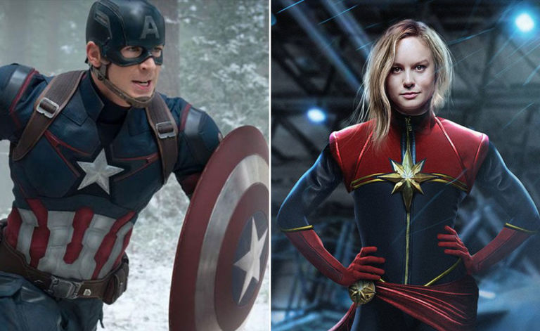 Brie Larson s Captain Marvel takes over from Iron Man and Captain     Captain America Captain Marvel