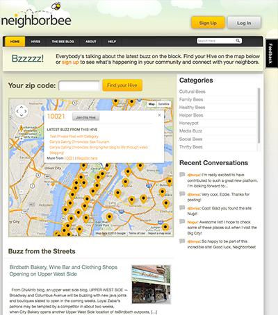 Neighbree Home Page Screenshot