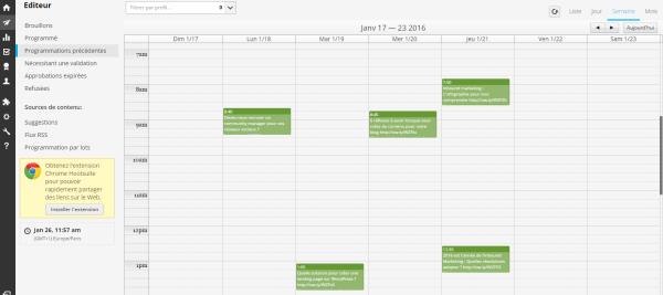 Hootsuite calendrier