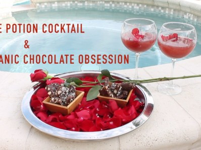 Recipes for Valentine's Day gin cocktail Love Potion and organic chocolate nut bark