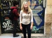 Checking out the graffiti while in Barcelona