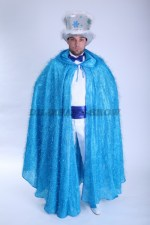 3665. Голубой блестящий плащ и серебристый цилиндр. Новогодний комплект для мужчин.