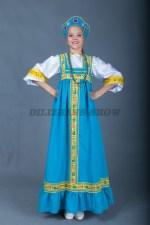 5670. Русский сарафан для девочки голубой