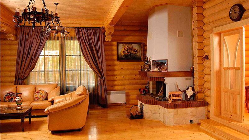 фотография интерьера деревянного дома из бруса