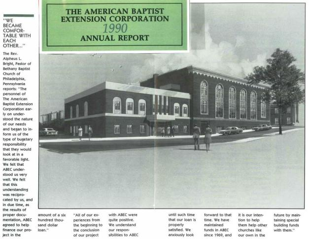 ABEC Annual Report 1990 featuring Bethany Baptist Church