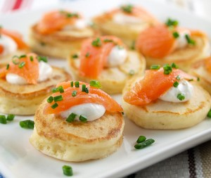 Cream Cheese Pancakes with Salmon
