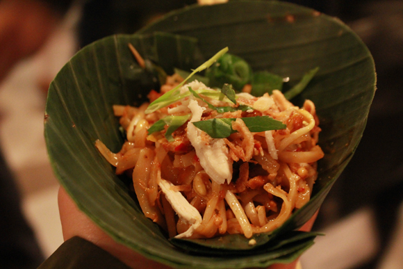 Eat to the Beat 2013 - Chef Nuit Regular - Chicken Thai Noodle Salad in Fragrant Banana Leaf Bowl