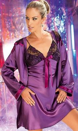 Tiffany fioletowa koszulka nocna satynowa