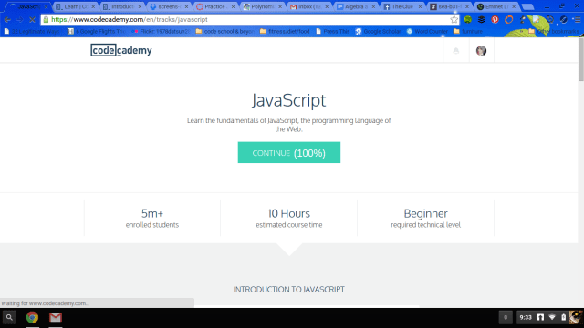 100% Completion of JavaScript at Codecademy