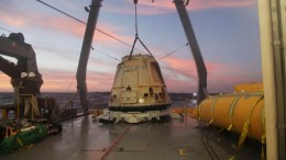 In this Tuesday, Feb. 10, 2015 file photo made available by SpaceX, their Dragon capsule sits aboard a ship in the Pacific Ocean west of Mexico's Baja Peninsula after returning from the International Space Station, carrying about 3,700 lbs of cargo for NASA.  (AP)