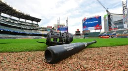 Atlanta Braves' Freddie Freeman's bat and glove sit on the field at the conclusion of the team's first baseball workout in their new stadium at SunTrust Park, Thursday, March 30, 2017, in Atlanta. (AP)