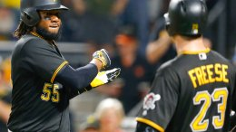 Pittsburgh Pirates' Josh Bell (55) celebrates with David Freese (23) after hitting a two-run home run during the third inning of a baseball game against the Baltimore Orioles, Wednesday, Sept. 27, 2017, in Pittsburgh. (AP)