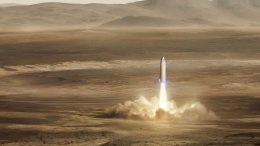 This artist's rendering made available by Elon Musk on Friday, Sept. 29, 2017 shows SpaceX's new mega-rocket design on Mars. (AP)