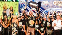 Martin Truex Jr. celebrates in Victory Lane after winning a NASCAR Cup Series auto race at Homestead-Miami Speedway in Homestead, Fla., Sunday, Nov. 19, 2017. (AP)