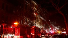 Firefighters respond to a building fire Thursday, Dec. 28, 2017, in the Bronx borough of New York. (AP)