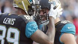 Jacksonville tight end Ben Koyack is congratulated by Marcedes Lewis after catching a one-yard TD pass Sunday. (AP)