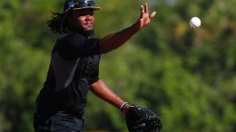 In this Feb. 16, 2018, file photo, Pittsburgh Pirates first baseman Josh Bell practices during baseball spring training, in Bradenton, Fla. (AP)