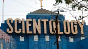 This Aug. 25, 2016, photo shows the Scientology Cross perched atop the Church of Scientology in Los Angeles. (AP)