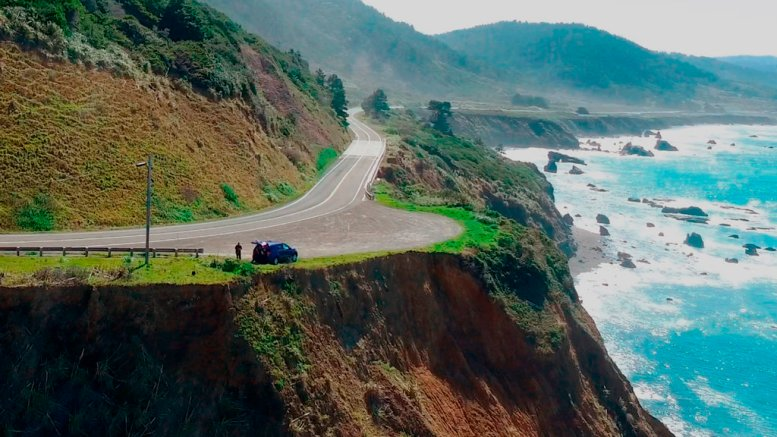 This March 28, 2018, aerial file photo taken from Alameda County Sheriff's Office drone video, courtesy of Mendocino County, shows the pullout where the SUV of Jennifer and Sarah Hart was recovered off Pacific Coast Highway 1, near Westport, Calif. (AP)