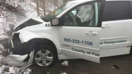 A county transportation van was struck by an oncoming vehicle on the west end of Tionesta Bridge on the morning of April 6. The crash resulted in injuries to all four people involved and prompted Forest County commissioners to urge Tionesta Township to take action on the bridge's traffic pattern. (Submitted photo)