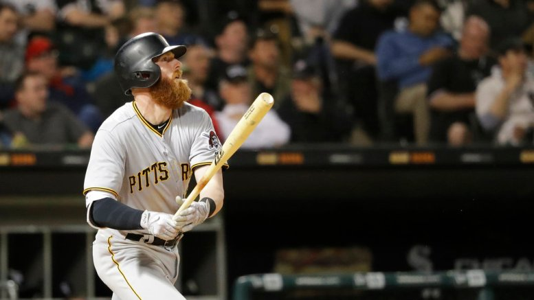 Pittsburgh Pirates' Colin Moran watches his two-run double off Chicago White Sox relief pitcher Chris Volstad during the fifth inning of a baseball game Tuesday, May 8, 2018, in Chicago. Josh Bell and Francisco Cervelli scored on the play. (AP)