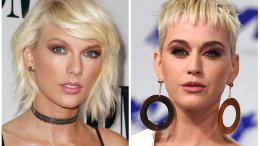 This combination of photos shows Taylor Swift (left) on May 10, 2016, in Beverly Hills, Calif., and Katy Perry on Aug. 27, 2017, in Inglewood, Calif. (AP)