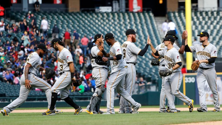 The Pittsburgh Pirates celebrate the team's 6-5 win over the Chicago White Sox after a baseball game Wednesday, May 9, 2018, in Chicago. (AP)