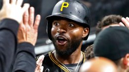 Pittsburgh Pirates' Gregory Polanco celebrates as he returns to the dugout after hitting a solo home run off San Francisco Giants starting pitcher Jeff Samardzija during the third inning of a baseball game in Pittsburgh, Saturday, May 12, 2018. (AP)