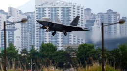In this May 16, 2018, file photo, a U.S. F-22 Raptor stealth fighter jet lands as South Korea and the United States conduct the Max Thunder joint military exercise at an air base in Gwangju, South Korea. (AP)