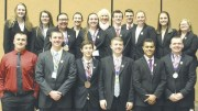 The Clarion-Limestone High School Academic Sport League team members who participated in The United Stated Academic Decathlon in Frisco, Texas are: Row 1 (left to right) James Gunning, Mitchell Knepp, Andrew Forrest, Greyson Knepp, Tre Haines, and Christian Smith; and Row 2 (left) Lindsay Shook, Katelyn Clover, Katharine Melcher, Reecie Boyles, Levi Orcutt, Lizzy Gruver, Sadie Mahle, and Charisma Ferringer; and Row 3 (left) Taylor Devey, Coach Lorna Ondrasik, and Ian McNaughton.