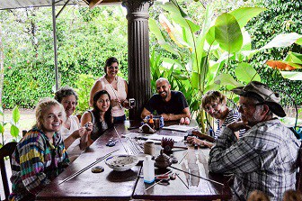 travelers in costa rica sitting at table