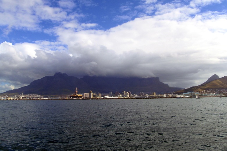 "Table Mountain shrouded by it's infamous ""tablecloth"""