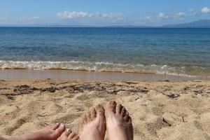 Beachy toes on Green Beach, Vieques