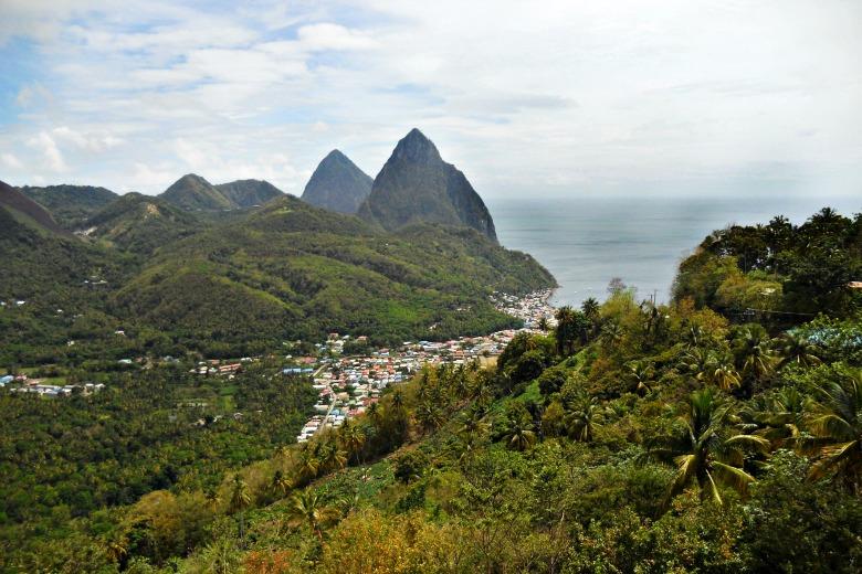 Saint Lucia and the piton mountains