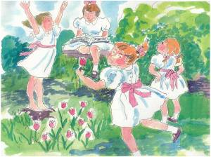 Little girls dancing in the yard