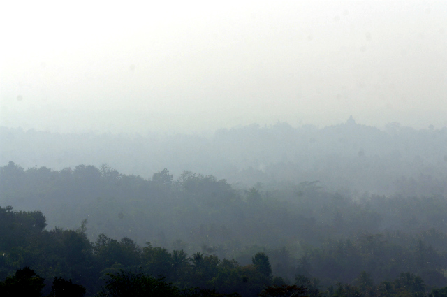 Sunrise overlooking Borobudur Yogya
