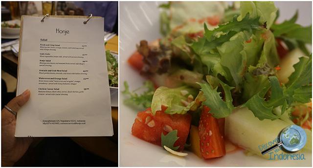 honje salad and honje menu
