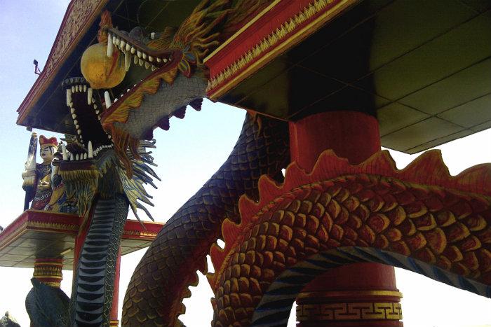 Dragon arches at the Klenteng Sanggar Agung Temple in Surabaya.