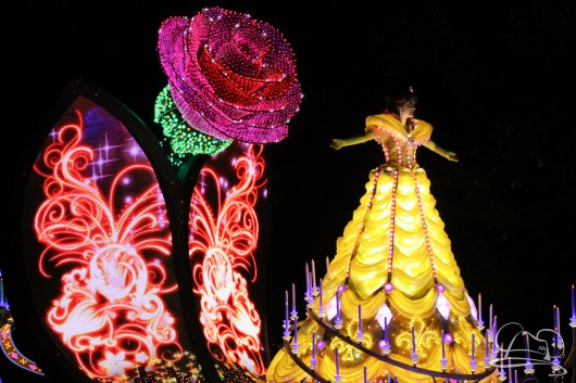 Belle leads the princess unit on her Beauty and the Beast float in Disneyland's Paint the Night Parade.