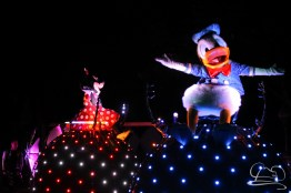 Donald Duck and Minnie Mouse in Disneyland's Paint the Night Parade.