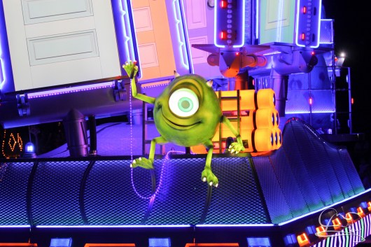 Mike Wazowski in the back of the Monsters Inc. unit in Disneyland's Paint the Night Parade.