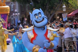 Aladdin's Genie makes wishes comes true for guests of Disneyland watching Mickey's Soundsational Parade.