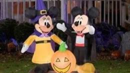 disney halloween decorations 4.5' Tall Mickey and Minnie Pumpkin Halloween Airblown Inflatable