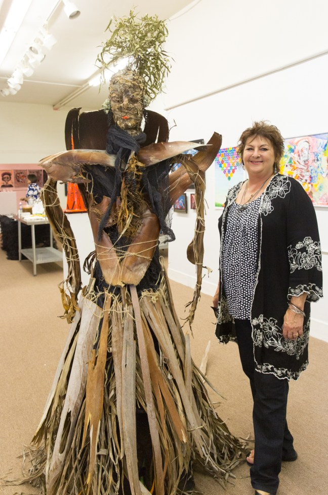 "Artist Patty Grau with her ""Queen Deadfall,"" Photo: Jack Burke"