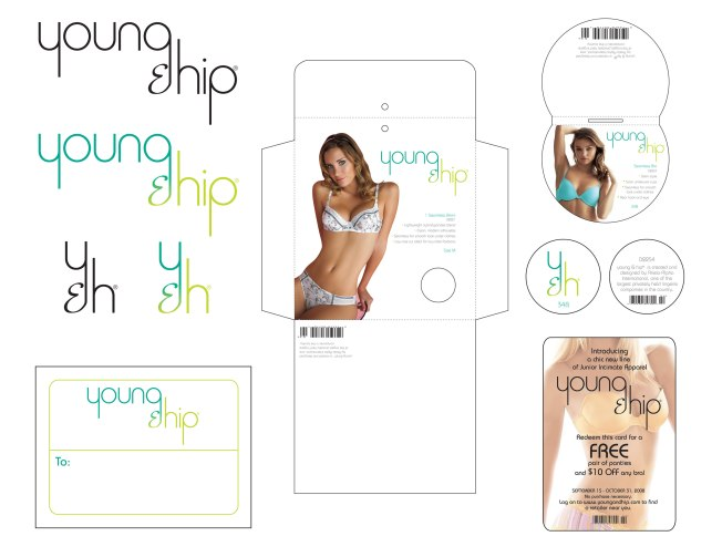 As part of a job application to a major lingerie company, I was asked to design logos, collateral and packaging for a line called Young & Hip. I got the job.