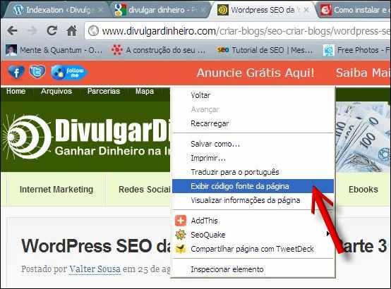 código fonte wordpress seo googlebot