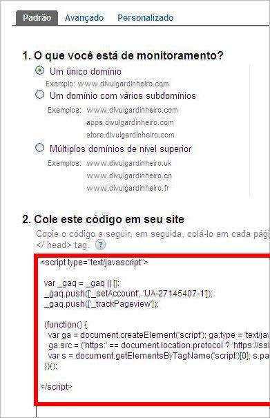 codigo rastreamento code google analytics