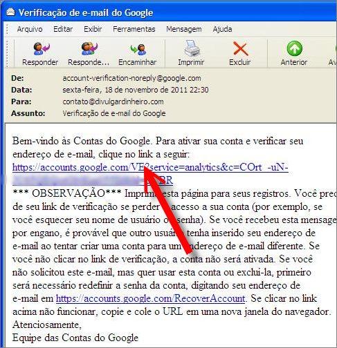 email confirmar nova conta google