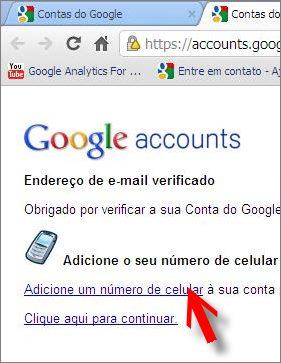 link celular email alternativo google accounts