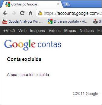 conta google conta excluída
